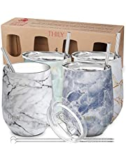 Vacuum Insulated Stemless Wine Tumbler - THILY T1 Triple-Insulated Stainless Steel Travel Glass with Lid and Straw, Gift for Christmas Birthday, Keep Cold for Beer, Cocktails