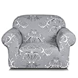 TIKAMI Printed Floral Couch Slipcovers Stretch Sofa Covers for Living Room Washable Anti-Slip Furniture Protector(Chair,Gray)