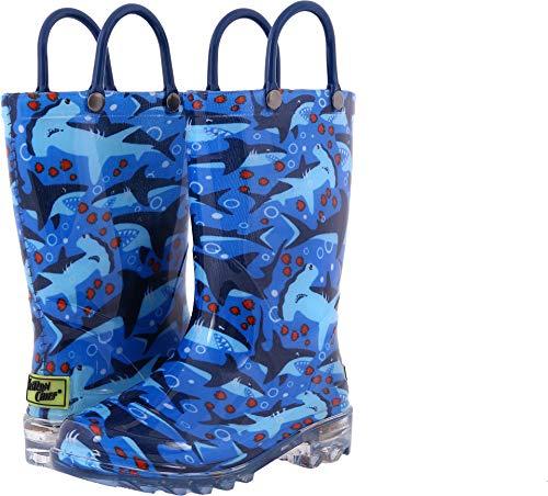 Western Chief Men's Light-Up Waterproof Rain Boot, Blue 12 M US Little Kid