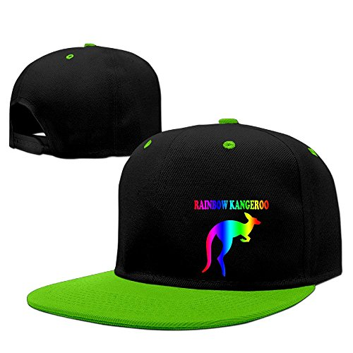 Custom Unisex-Adult Rainbow Kangeroo Adjustable Hiphop Cap Hats KellyGreen