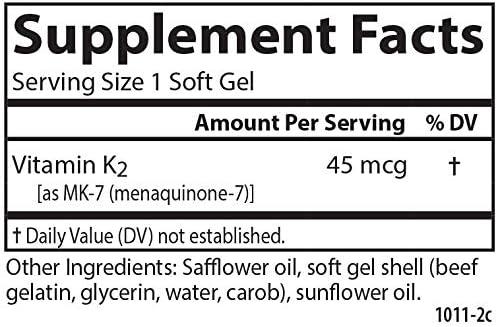 Carlson - Vitamin K2, MK-7 (Menaquinone-7) - 45 mcg, Bone Support, Cardiovascular Function & Calcium Bioavailability, 90 Soft gels