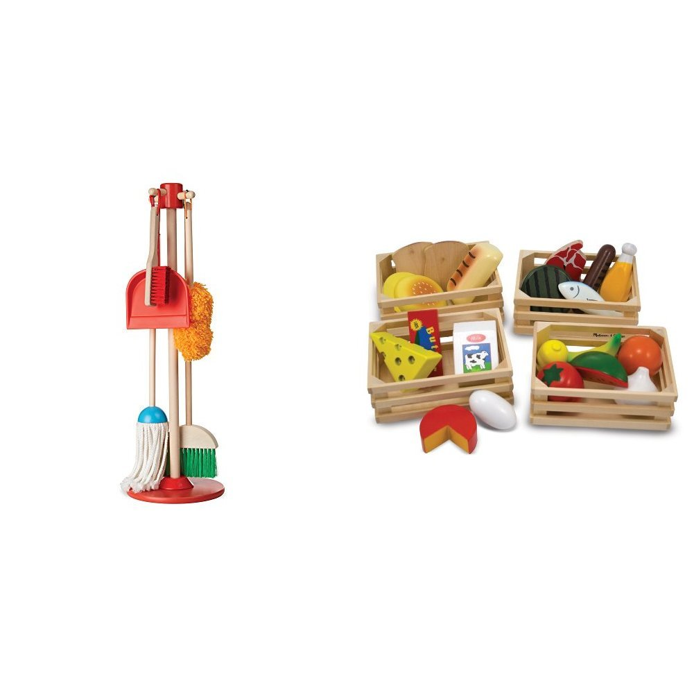 Melissa & Doug Let's Play House Dust! Sweep! Mop! 6-Piece Pretend Play Set with Melissa & Doug Food Groups - 21 Hand-Painted Wooden Pieces and 4 Crates Bundle