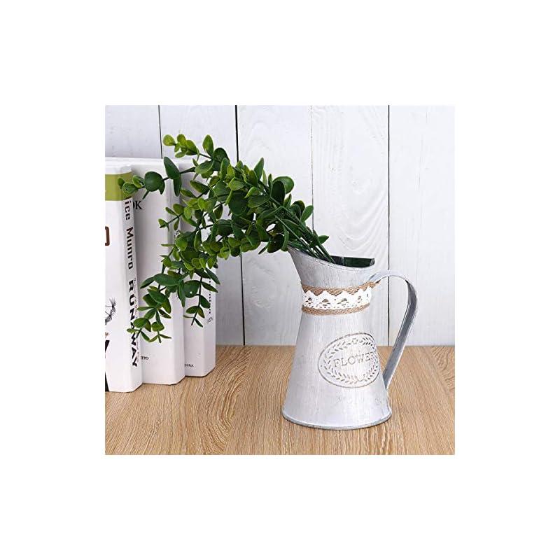 Ivosmart Vintage Antique Style Metal Jug Flower Vase Primitive Pitcher for Home Decoration
