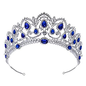 SWEETV Corona Cumpleaños Mujer y Niña - Corona Princesa Reina, Diadema Novia para Navidad, Halloween