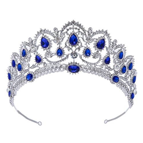 SWEETV Crystal Wedding Tiara for Bride - Rhinestone Princess Crown for Women, Bridal Costume Jewelry Hair Accessories, Royal Blue