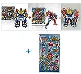 KoreaTV Animation Biklonz Mega Beast Barbarian king Five Copolymers Transforming Coalescence Robot, Transformer Robot + Super Wings sticker(2 Piece)