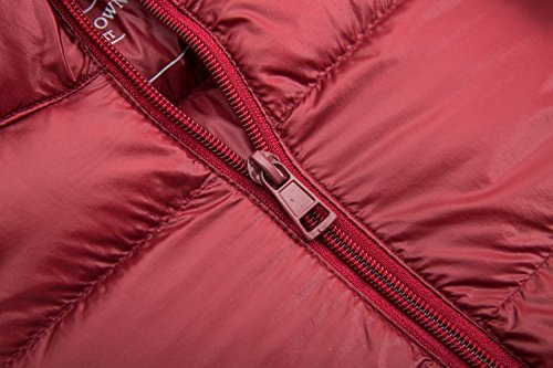 Donne Peso Cappotto Trapuntato Giù Il Rosso Cappuccio Con Completa Puffer Lunga Parka Delle Lunghezza Yeokou qESFTT
