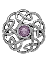 Jewelry Trends Sterling Silver Round Celtic Thistle Brooch Pin with Purple Amethyst