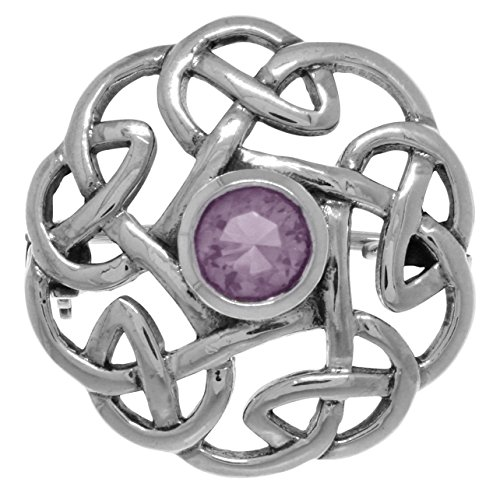 Silver Sterling Brooch Bezel (Jewelry Trends Sterling Silver Round Celtic Thistle Brooch Pin with Purple Amethyst)