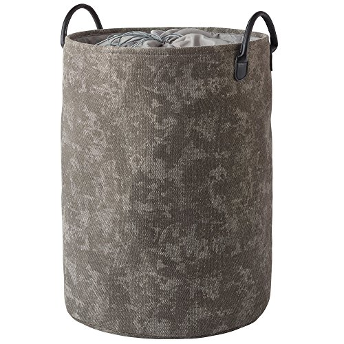 Nova Bath Collection Olav Cotton Polyester Hamper Laundry Organizer Basket with Carry Handles, Round (Dark Gray)