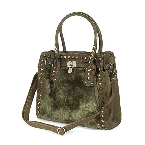 Damen Handtasche Umhängetasche mit Kunstfell und Nietapplikationen
