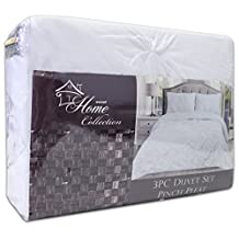 Sweet Home Collection 3 Piece PP Luxury Pinch Pleat Pintuck Fashion Duvet Set, King, White