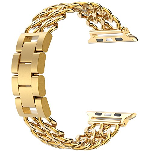 Gold Mesh Buckle (Wearlizer Compatible Apple Watch Band 38mm Mens iWatch Cowboy Chain Wrist-Bands Stainless Steel Replacement Strap Women Metal Bracelet,Hand Removal Link,Series 3 2 1 Sport Edition-Gold)