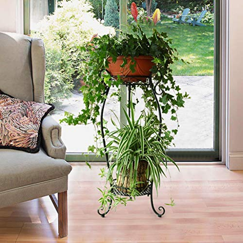 GONGting Metal 2 Tiers Tall Plant Stand Art Flower Pot Holder Rack Planter Supports Garden & Home Indoor Decorative Pots Containers Stand (Black)