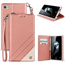 Trishield Gear Alcatel Idol 5, Nitro 5 Case, [Infolio] Slim Rose Gold White Synthetic Leather Invisible Magnetic Closure Flip Wallet Cover For Alcatel 6060C With kickstand Feature Card Slot