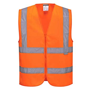Orange Portwest C375ORRXXL Hi-Vis Zipped Vest 2X-Large