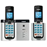 Vtech DECT 6.0 2 Cordless Phones with Bluetooth Connect-to-Cell, Caller ID, Handset Speaker Phones, Black and Silver