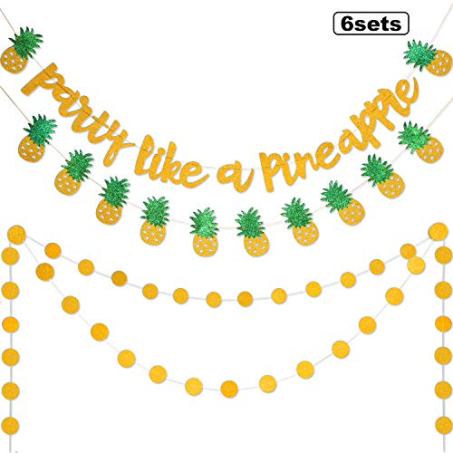 (6 Pieces Pineapple Banner Party Like A Pineapple Decoration Circle Dots Garland Gold Glitter Bunting Garland for Hawaiian Luau Tropical Theme Party Supplies)