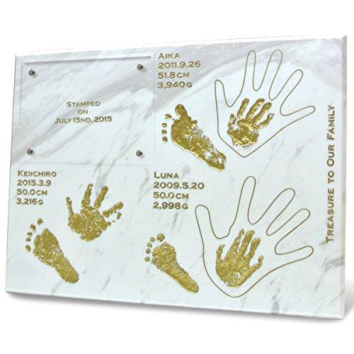 赤ちゃん 手形 足形 天然大理石 メモリアル ファミリーヒストリー 30x40 cm お客様 オリジナル デザイン   B018E24KIS
