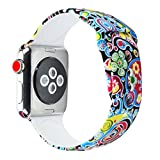 Sunmitech Apple Watch Band 38mm 42mm, Silicone Printed Sport Bands Replacement iwatch Strap Bracelet Wristband Apple Watch Series 3 2 1,S/M M/L Size