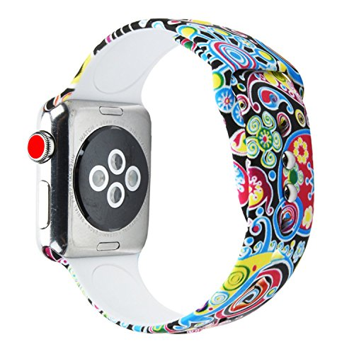 Price comparison product image Sunmitech Apple Watch Band 38mm 42mm,  Silicone Printed Sport Bands Replacement iwatch Strap Bracelet Wristband for Apple Watch Series 3 2 1, S / M M / L Size