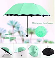 Colorful Life Travel Umbrellas for Women,Sun Umbrellas for Women,Compact Umbrellas for Rain and Wind with Met Water Begin Bloom and One Handed Operation.