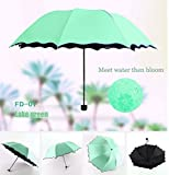 Travel Compact Umbrella For One Handed Operation, Met Water Begin Bloom Umbrella ,Windproof Sunscreen Handle for Easy Carrying For Womens Mens (Lake Green)