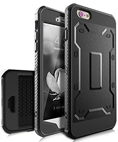 iPhone 6 Plus Case,iPhone 6s Plus Case,TIANLI [Slim] High Impact Protective Dual Layer Hybrid Case [Shockproof] With Built In Screen Protector For iPhone 6 Plus,iPhone 6s Plus 5.5 inch,Black/Black