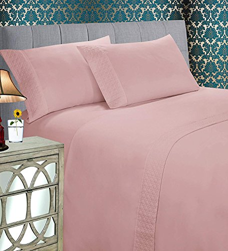 Elegant Comfort Luxury Best, Soft Coziest 4-Piece Bed Set 1500 Thread Count Egyptian Quality | |Quilted Design on Flat Sheet and Pillowcases| Wrinkle Free, 100% Hypoallergenic, King, Dusty Rose