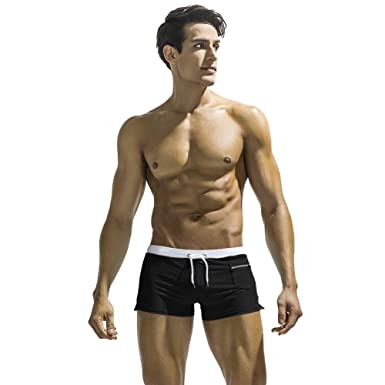 a111717d31 ATHWILL Men's Boxer Shorts Swim Beach Pants Swimming Trunks for Men Black,  Small