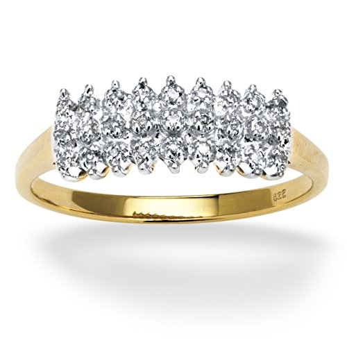 (Round White Diamond 18k Yellow Gold over .925 Silver Peak Ring (.14 cttw, HI Color, I3 Clarity) Size 9)