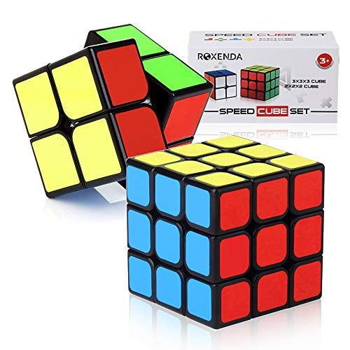 Roxenda Speed Cubes, Speed Cube Set of 2x2x2 3x3x3 Classic Puzzle Magic Cube with Colorful Box, Super-Durable Enhanced Edition ()