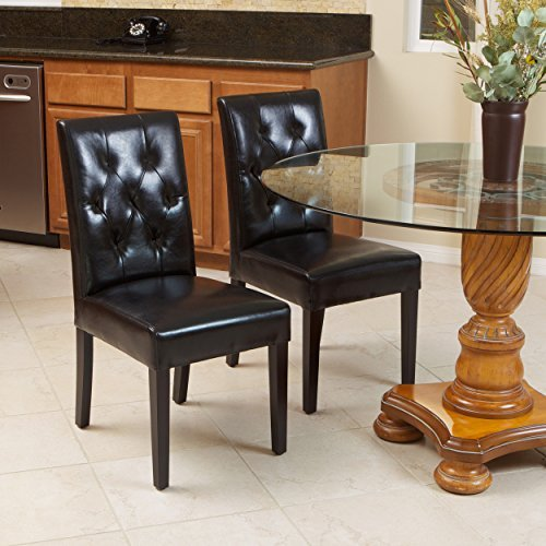 Waldon Black Leather Dining Chairs w/ Tufted Backrest