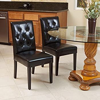 Waldon Black Leather Dining Chairs w/ Tufted Backrest (Set of 2)