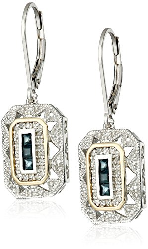 Sterling Silver and 14k Yellow Gold Blue Sapphire  with Diamond-Accent Art Deco-Style Drop Earrings (0.12 cttw, I-J Color, I3 Clarity)
