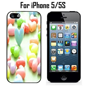 Colorful Heart Shaped Candy Custom Case/ Cover/Skin *NEW* Case for Apple iPhone 5/5S - Black - Plastic Case (Ships from CA) Custom Protective Case , Design Case-ATT Verizon T-mobile Sprint ,Friendly Packaging - Slim Case