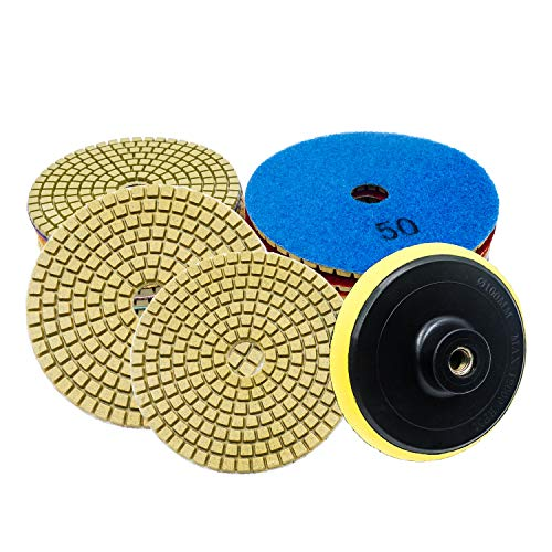 Diamond Polishing Pads, 4 inch Wet/Dry 9 Piece Set Polishing Kit with Backer Pad for Granite Marble Concrete Stone ()