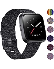 DAIKA Fabric Bands Compatible with Fitbit Versa/Versa 2/Versa Lite Stylish Woven Wristbands with Stainless Steel Buckle Fits for Women Men, Large Small