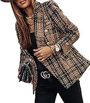 air-SMART Women's Casual Long Sleeve Suit Jackets PlaidPrinting Lapel Button Slim Work Office Blazer Ja