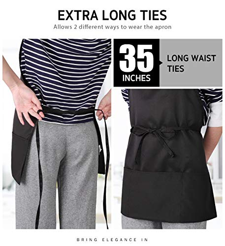 Syntus 2 Pack 3 Pockets Adjustable Bib Apron Waterdrop Resistant Cooking Kitchen Aprons for Women Men Chef, Black |