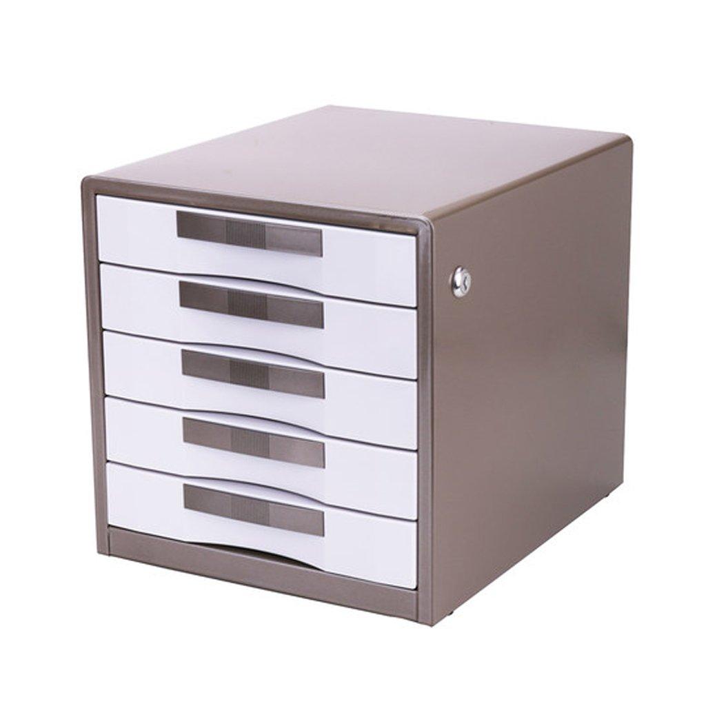 ファイルキャビネット5層メタルロック式デスクトップ引き出し戸棚 Xuan worth having ( 色 : ブラウン ぶらうん ) B07CM5G7NWブラウン ぶらうん