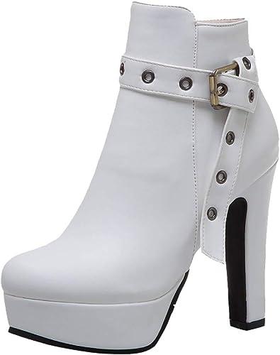 la Cheville Femmes zippées Luotuo pour Bottes Mode à 4LAj35R