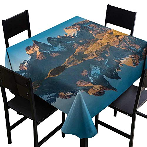 StarsART Microfiber Tablecloth Nature,Majestic Rocky Mountains with Reflections on The Lake Creek Idyllic Landscape,Blue and Brown D36,Table Cloth Cover Wedding Event Party