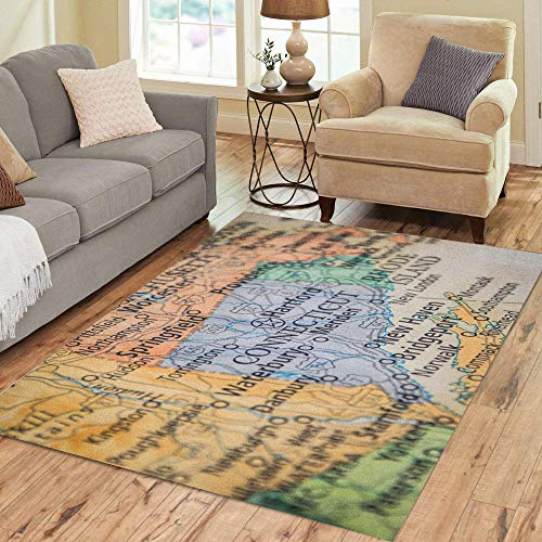 Stamford Floor - Semtomn Area Rug 2' X 3' Closeup Selective Focus of Connecticut State on Geographical Home Decor Collection Floor Rugs Carpet for Living Room Bedroom Dining Room
