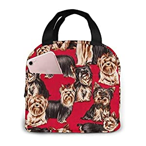 BUGb0agttr Yorkshire Terrier Red and Gold Cute Lunch Bag for Women Men,Insulated Lunch Tote Bag Oxford Cloth Thermal Meal Prep Lunch Organizer,Reusable Lunch Cooler Tote for Office Work Picnic 1