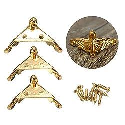 4Pcs/Set Hardware Antique Brass Jewelry Gift Box Wood Case Decorative Feet Leg Corner Protector