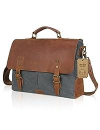 "Lifewit Genuine Leather Vintage 15.6"" Laptop Canvas Messenger Satchel Bag Grey"
