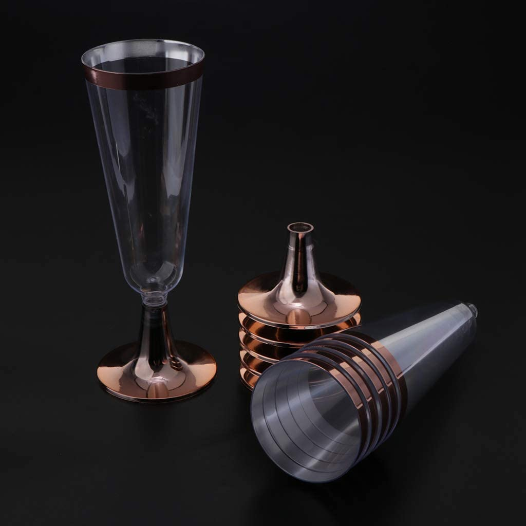 6 Piezas Copas de Vino Tazas de Champán de Plástico Transparente con Borde Dorado o Rosa - Adorno de oro rosa: Amazon.es: Hogar
