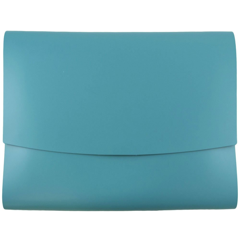 JAM Paper Italian Leather Portfolio with Snap Closure - 10 1/2'' x 13'' x 3/4''- Teal - 12/pack