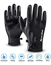 Cycling Gloves,Kekilo Winter PU Leather Waterproof Touchscreen Full Finger Gloves Men&Women Keep Warm,Windproof and Rainproof for Outdoor Activity,Skiing,Running,Cycling,Hiking etc.